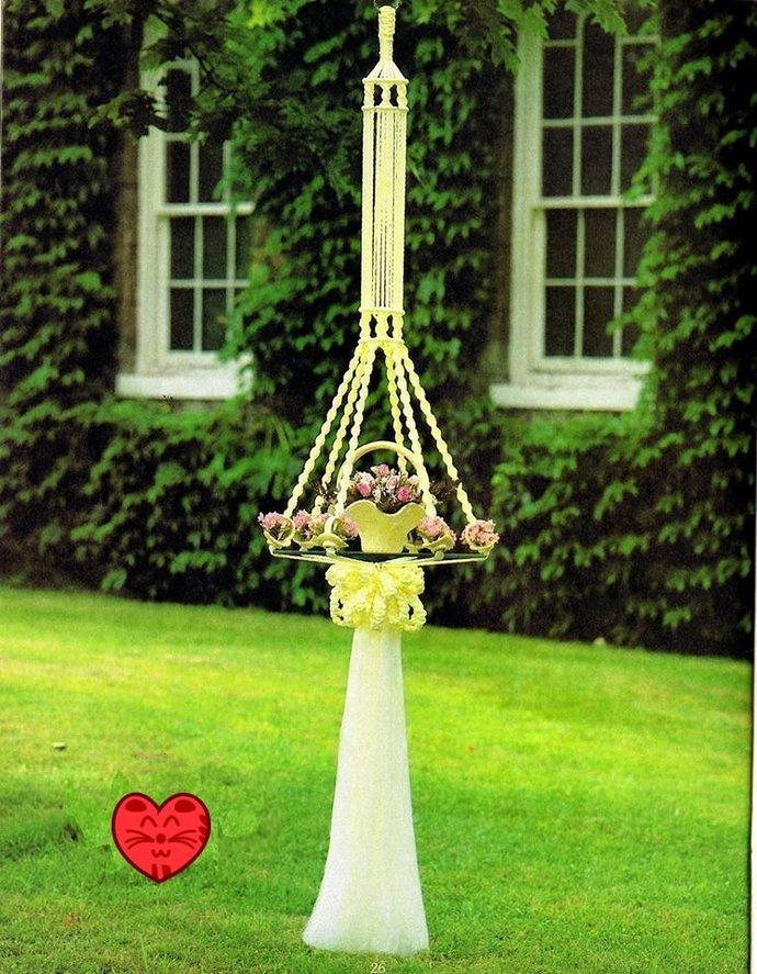 Vintage Macrame Pattern 1970s to make A Large Hanging Decorative Vase Holder