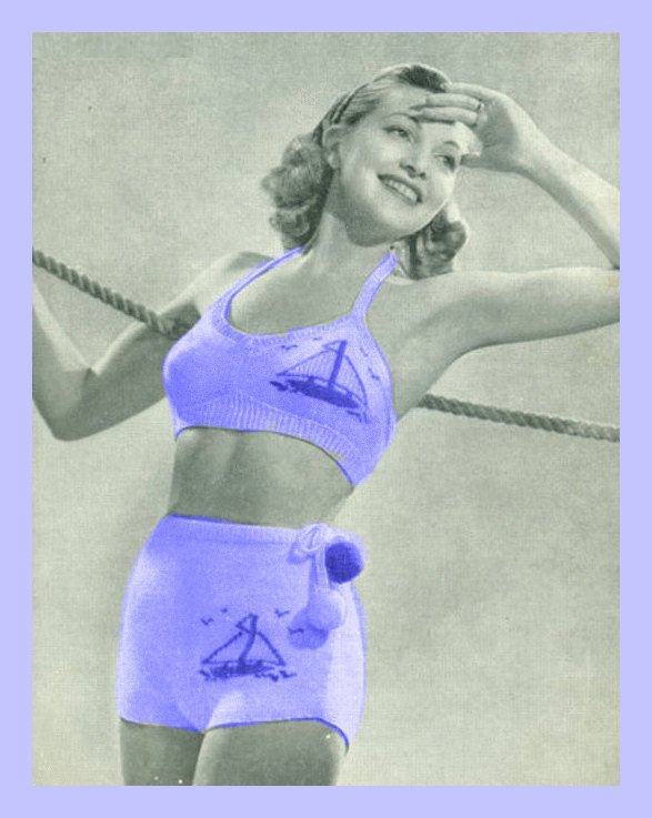 Vintage 40's Knitting Pattern to make A Ladies Nautical Motif Two Piece Bathing