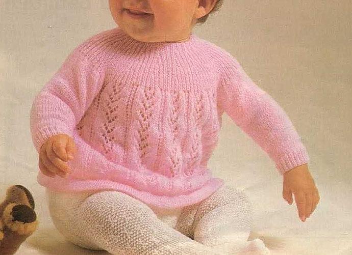 Instant PDF Digital Download Vintage Knitting Pattern to make Baby Bebe A Long
