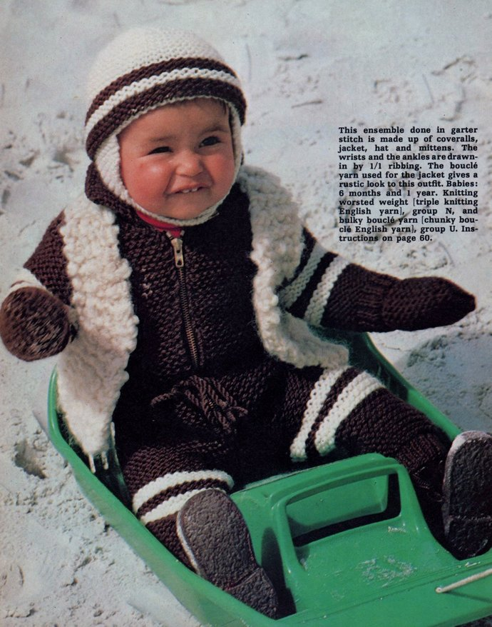 Instant PDF Digital Download Vintage Row by Row Knitting Pattern Baby All in One