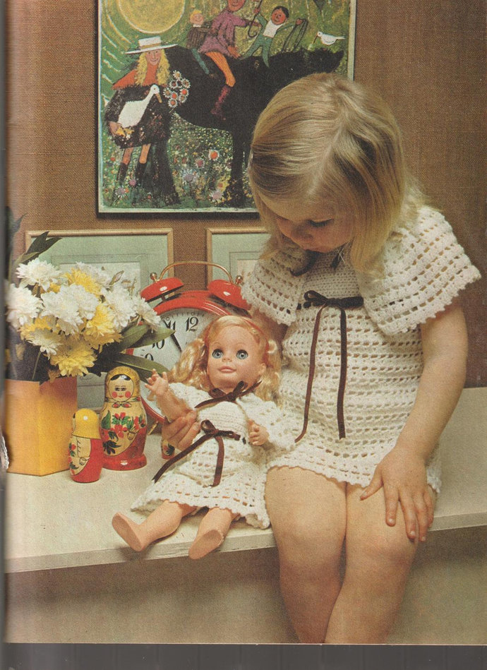 Instant PDF Download Vintage Crochet Pattern to make A Girl's & Doll's Pretty