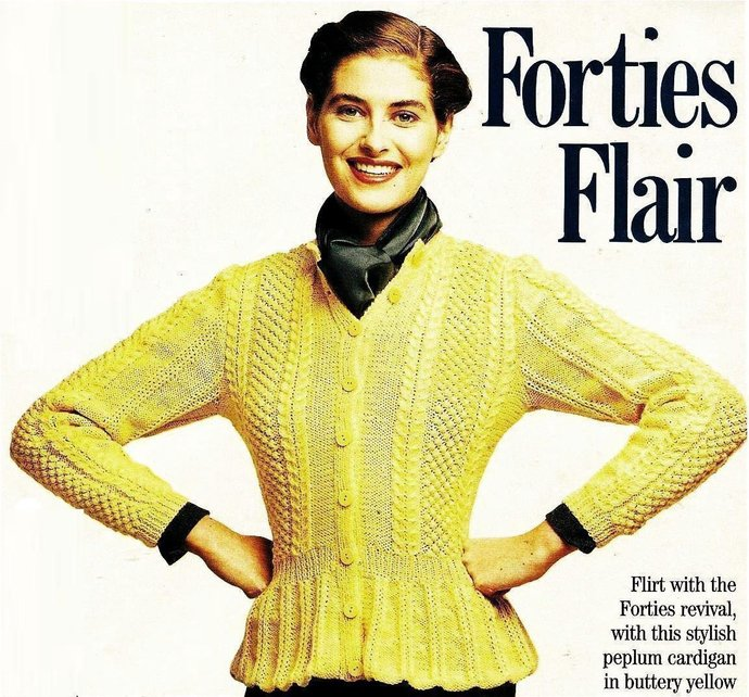 ALMOST FREE Instant PDF Download Vintage Knitting Pattern Ladies Fitted Forties