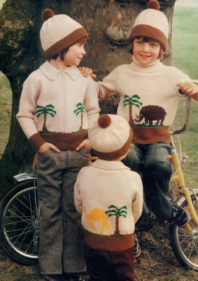 ALMOST FREE Instant PDF Download Vintage Knitting Pattern Childs Safari Zoo