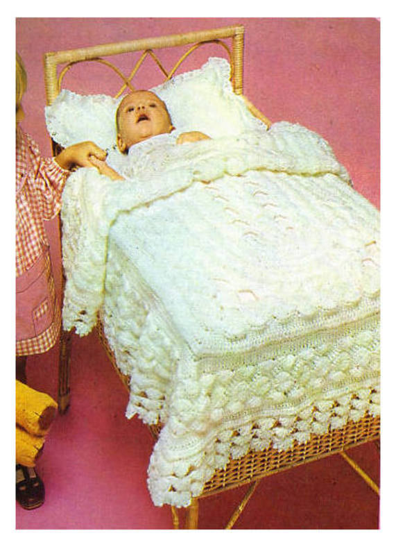 Instant PDF Digital Download Vintage Tunisian Crochet Pattern to make A Baby