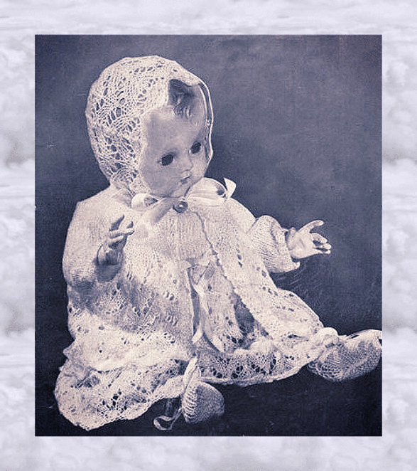 Instant PDF Digital Vintage Knitting Pattern Dolls Clothes Lace Layette 15-16""