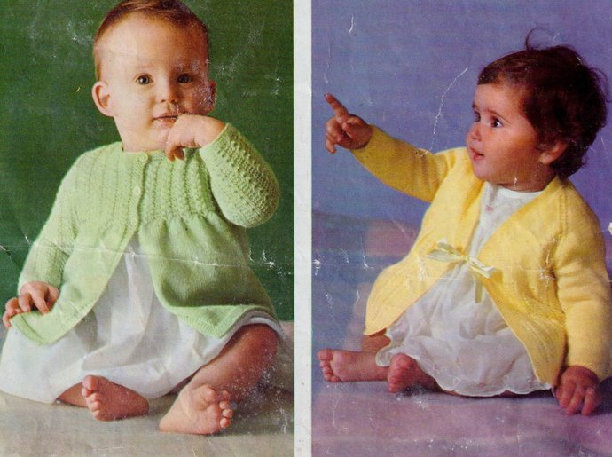 Instant PDF Download Row by Row  Vintage Knitting Pattern to make Baby Two Long