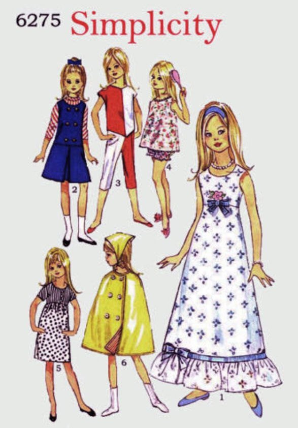Instant PDF Digital Download Vintage Dolls Clothes Sewing Pattern Simplicity