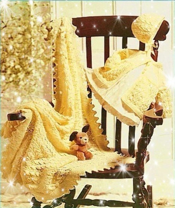 Instant Digital Download PDF Vintage Knitting Pattern Lacy Baby Matinee Coat