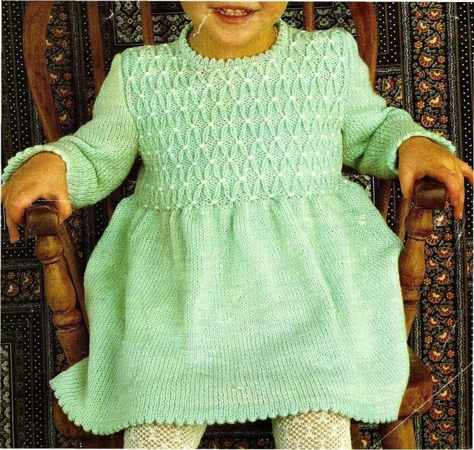 Instant Digital Download PDF Vintage 70s Row by Row Knitting Pattern Girls Long