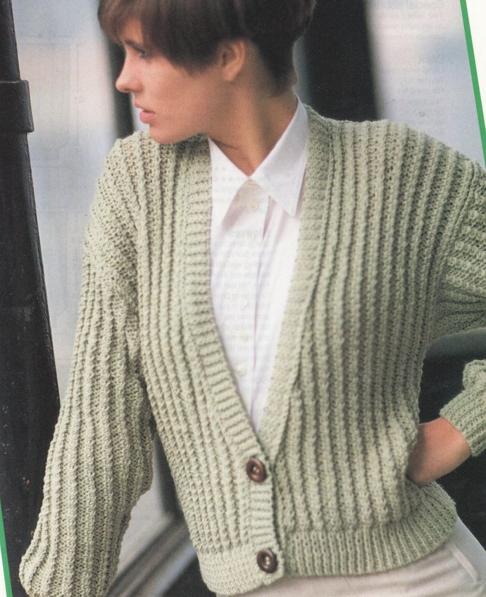 Instant Digital Download PDF Vintage Row by Row Knitting Pattern Ladies Long