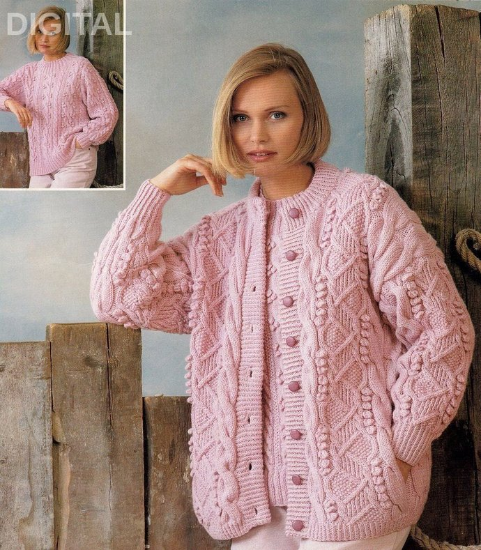 369bfca99e297b Instant PDF Digital Download Knitting Pattern Ladies Richly textured  Cardigan