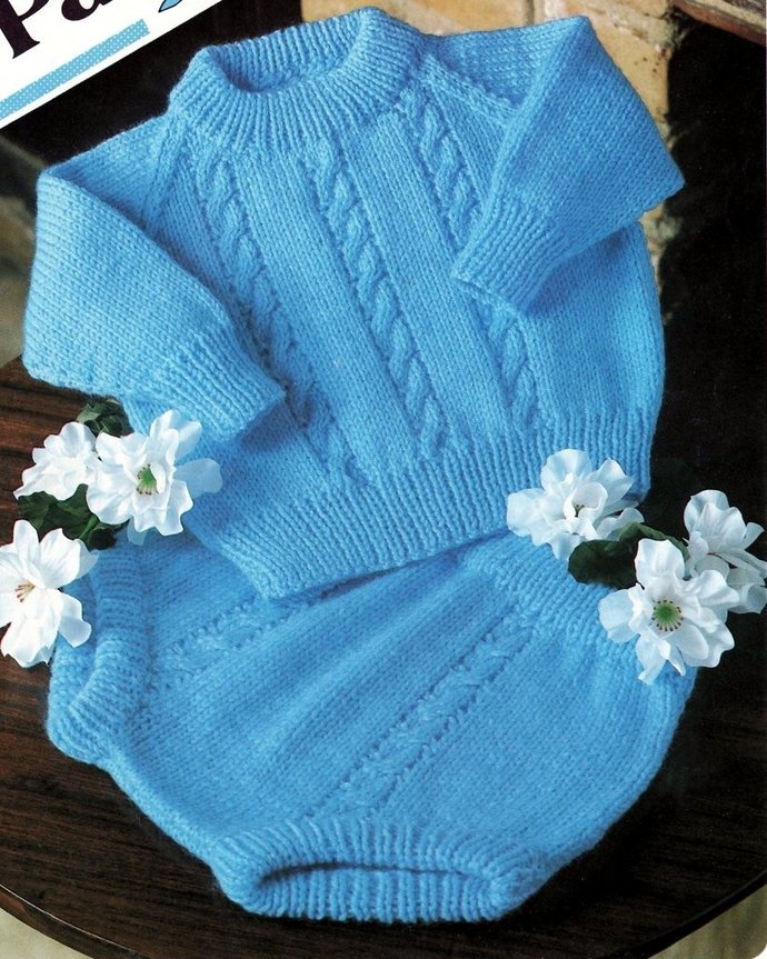 Instant PDF Digital Download Vintage Knitting Pattern to make Baby Bebe A Cable