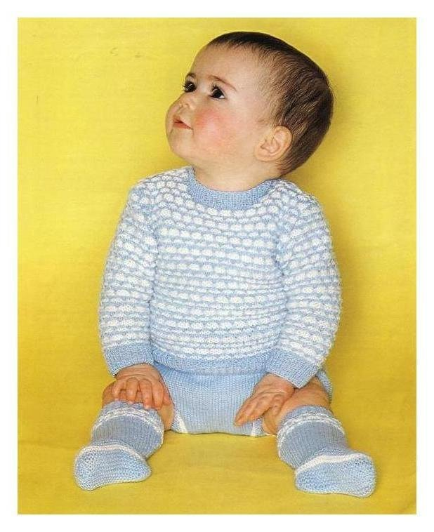 Instant Digital  Download PDF Vintage Row by Row Knitting Pattern A Baby Boy A
