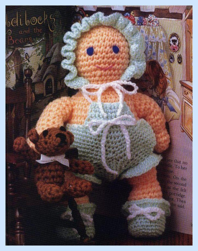 Instant PDF Digital Download Vintage Crochet Pattern A Very Sweet Baby Doll  &