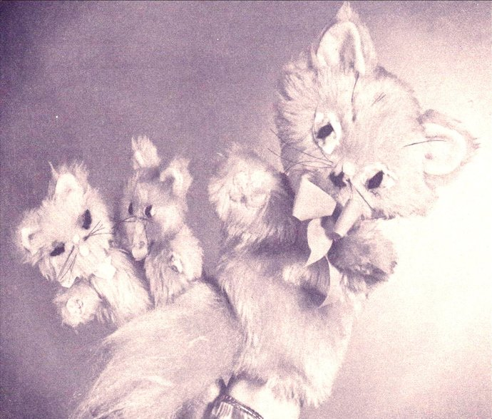 Instant PDF Download Vintage Sewing Pattern to make A Sweet Cat Glove Puppet &