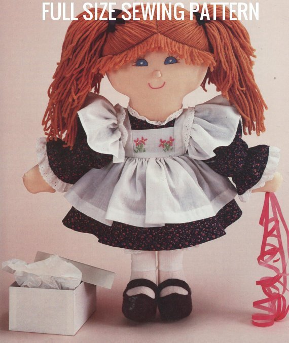 Instant PDF Digital Download Full Size Sewing Pattern to make A Pigtail Girl Rag