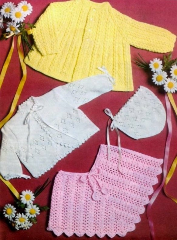 Instant Digital Download PDF Vintage Row by Row Knitting & Crochet Pattern Baby