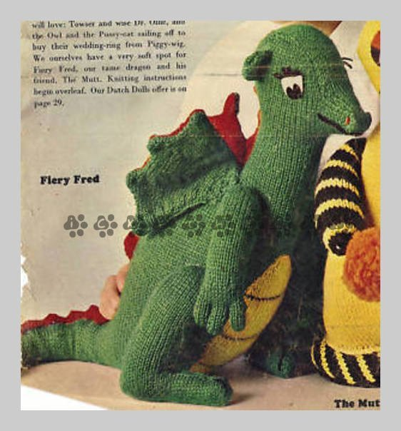 Vintage 1970s Knitting Patterns to make A Fiery Dragon Stuffed Soft Plush Toy 20