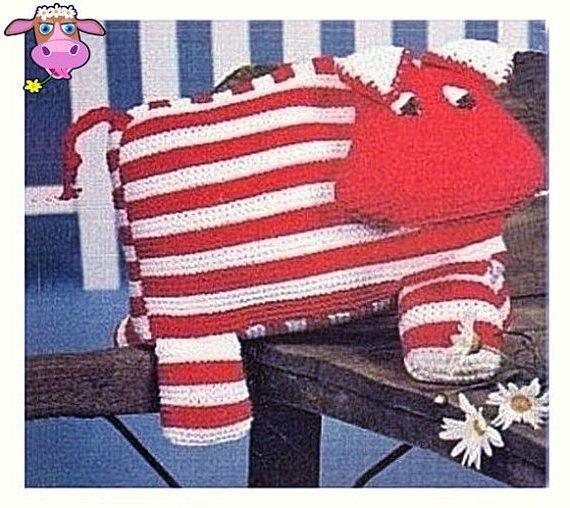 Instant Digital Download PDF Vintage Knitting & Crochet Pattern Striped Cow