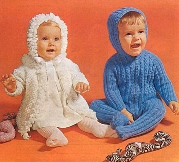 Instant Digital Download PDF Vintage Row by Row Knitting Pattern Boys Hooded