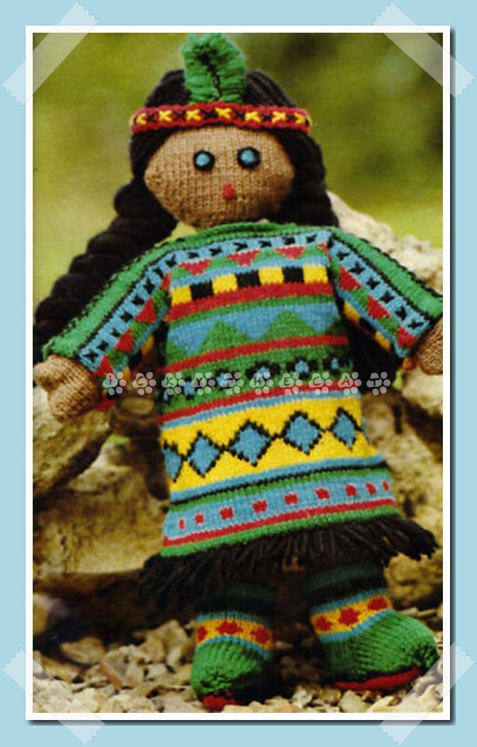 Vintage 1970's Knitting Pattern to make A Cute Native American Soft Body Rag