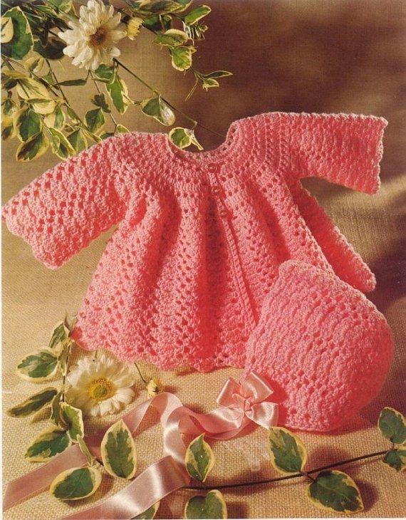 Instant PDF Digital Download Vintage Crochet Pattern to make Baby Bebe' Long
