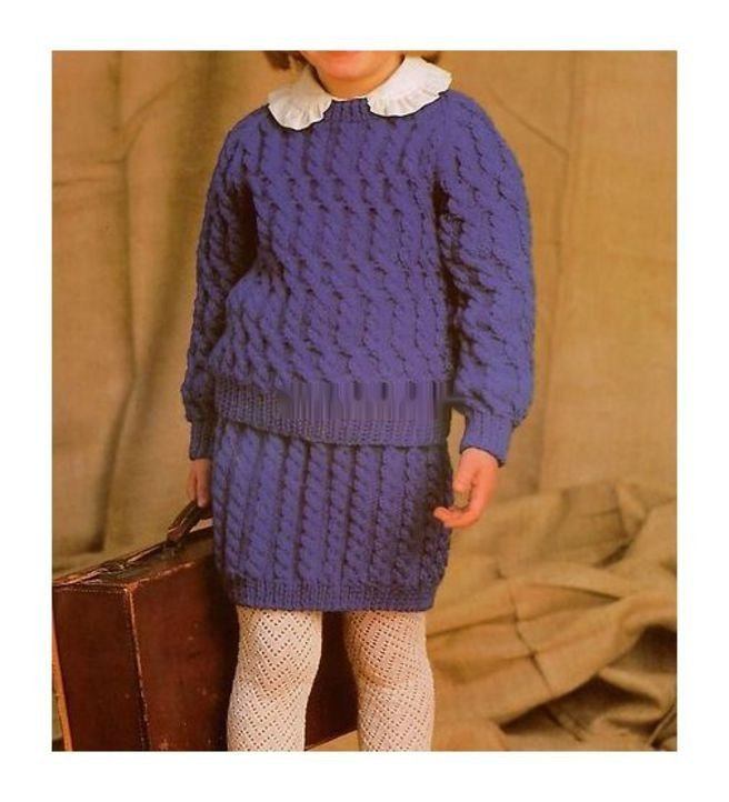 Instant PDF Download Vintage Row by Row Knitting Pattern to make A Girls Raglan