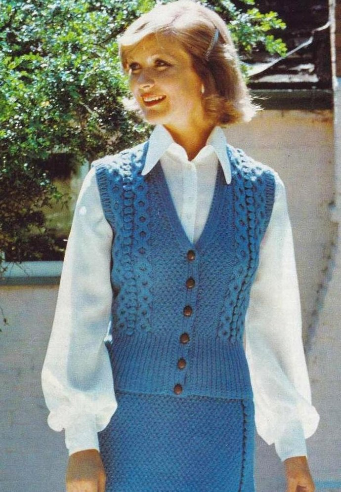 ALMOST FREE Instant PDF Download Vintage Row by Row Knitting Pattern Ladies Aran