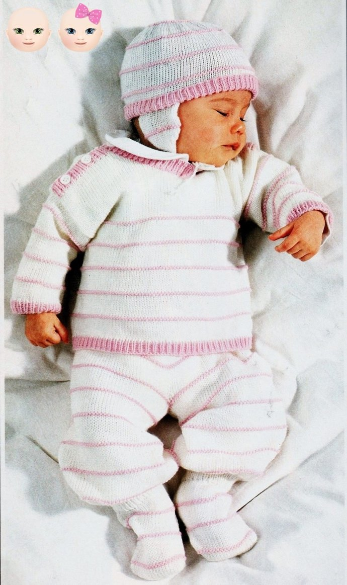 Instant PDF Download Vintage Knitting Pattern Baby Toddler Child's Easy Sweater