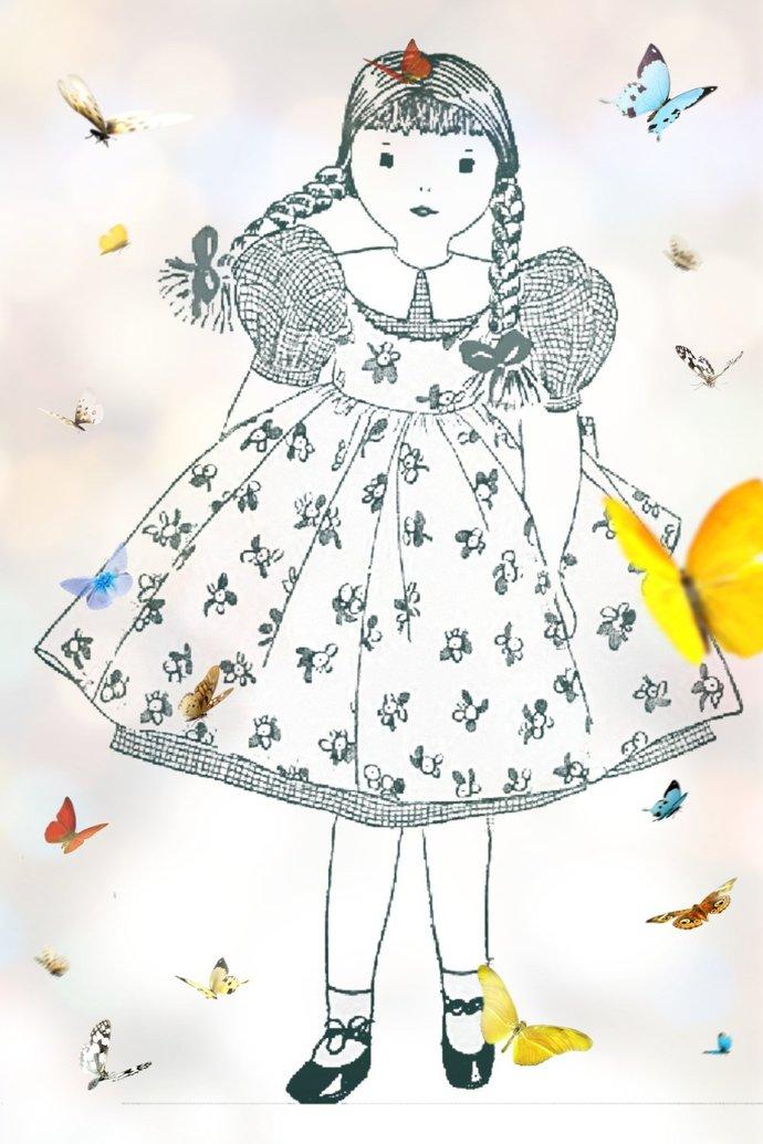 Instant PDF Digital Download Vintage Sewing Pattern to make A Little Girl Doll &