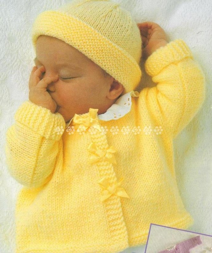 Vintage Knitting Pattern to make a Quick Easy Baby Sweater Jacket & Hat Chest