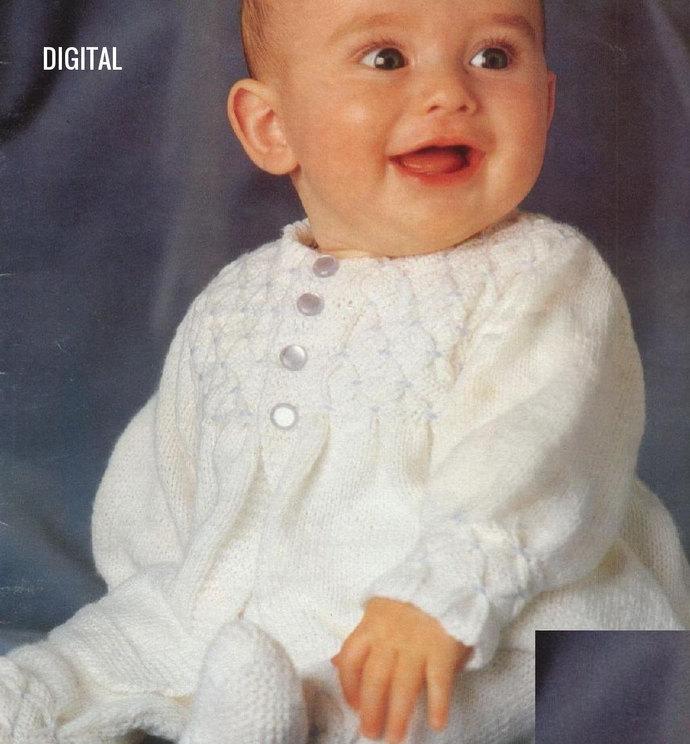 Instant PDF Digital Download Vintage Knitting Pattern to make a Baby Dress