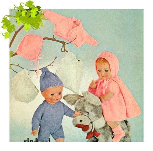 Instant PDF Digital Download Vintage Knitting Pattern to make Dolls Clothes An