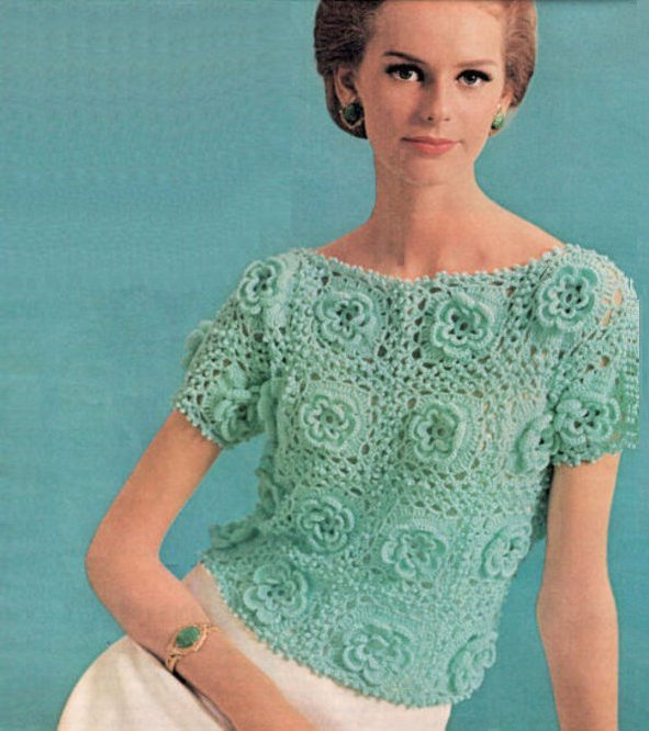 Instant PDF Download Vintage Crochet Pattern to make An Irish Rose Lace Short