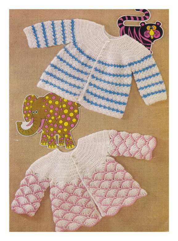 Instant PDF Digital Download Vintage Crochet Baby Clothes: 2 Pretty Long Sleeve