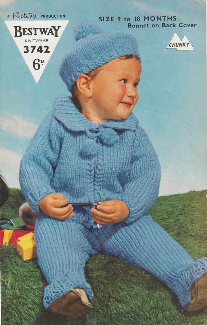 Instant PDF Digital Download Vintage Knitting Pattern to make Baby Bebe a Pram
