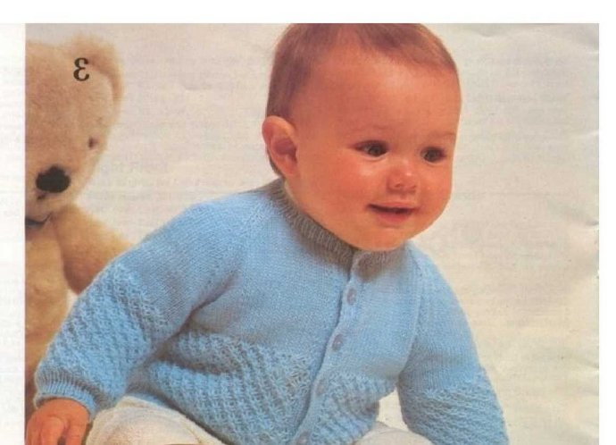 Instant PDF Download Vintage Knitting Pattern to make Baby Bebe A Long Sleeve