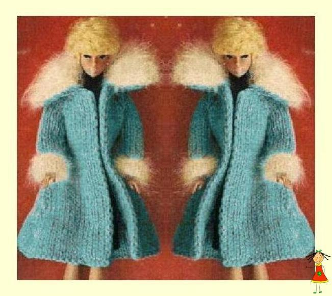 Vintage Knitting Pattern  to make an Edge to Edge Coat with Angora Trim for