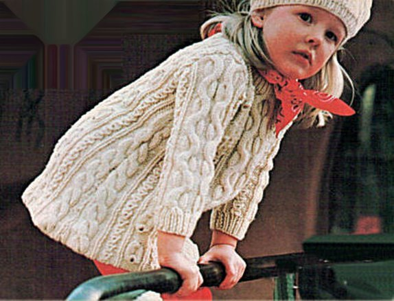 ALMOST FREE Instant PDF Download Vintage Row by Row Knitting Pattern Girls Cosy