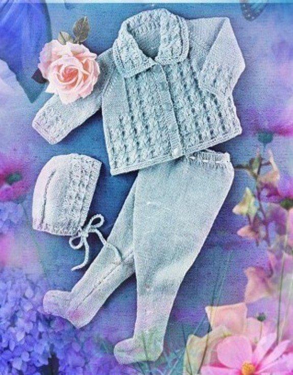 Instant PDF Digital Download Vintage Knitting Pattern to make Baby Bebe  Jacket,