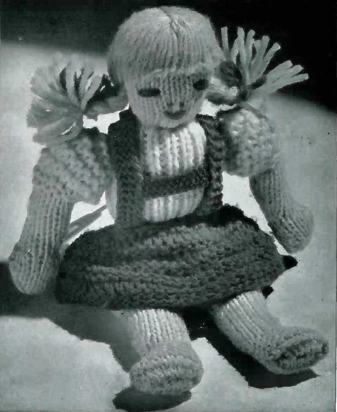 Instant PDFDigital Download Vintage Knitting Pattern to make a Cute Stuffed