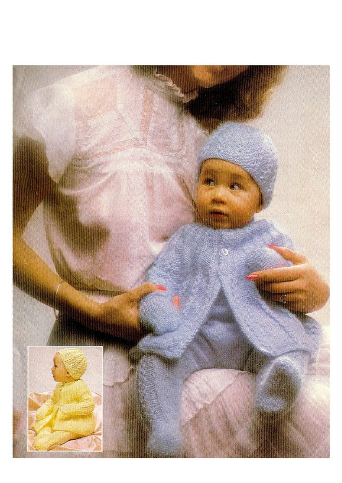 Instant PDF Digital Download Vintage Row by Row Knitting Pattern A Baby Pram Set