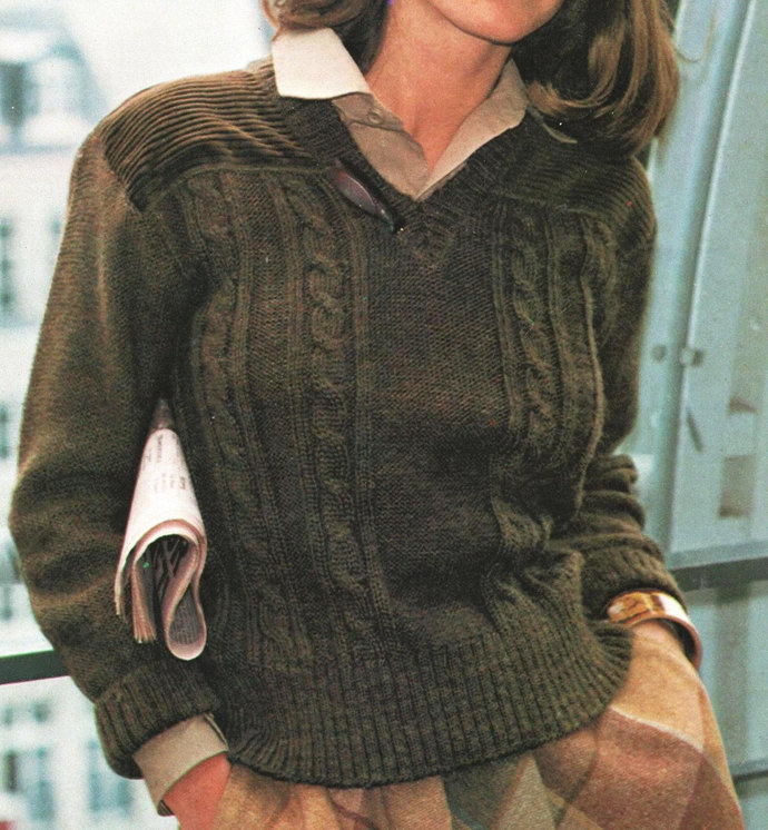 Instant PDF Digital Download Vintage Knitting Pattern a Ladies Aran Style Cable
