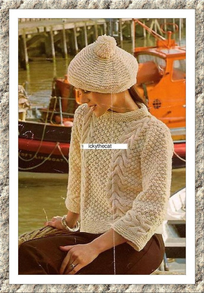 Instant PDF Download Vintage Row by Row Knitting Pattern to make Ladies Girls