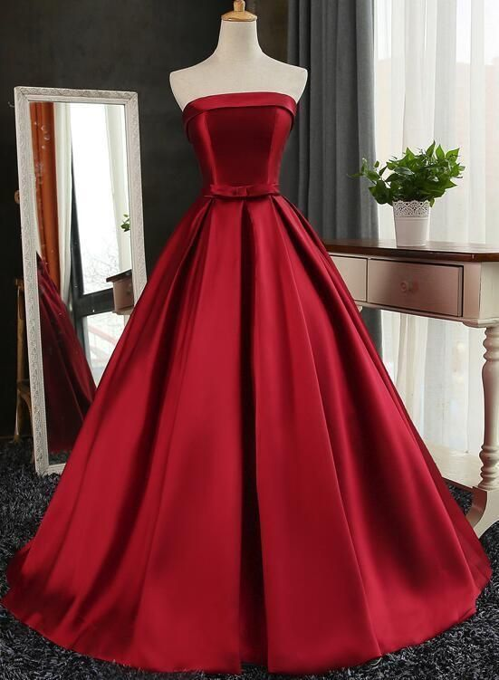 f4399d5cc09 Wine Red Satin Long Gown