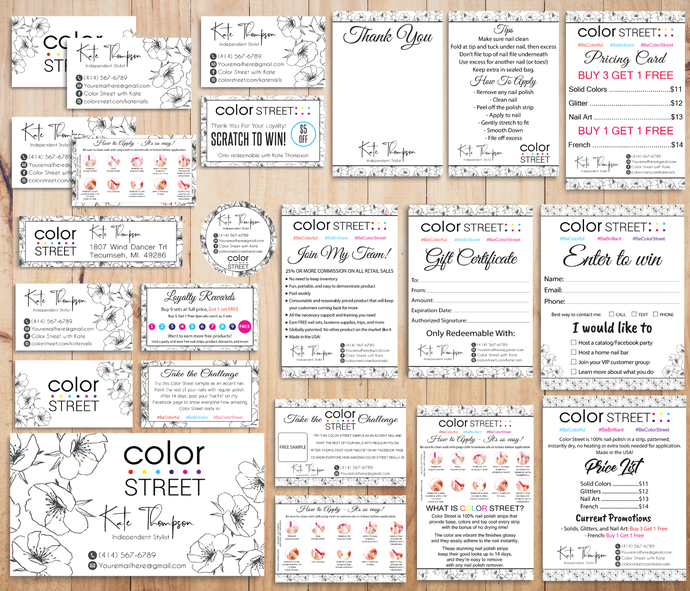 Color Street Marketing Kit, Personalized Color Street Cards, Color Street