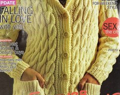 Instant PDF Download Vintage Row by Row Knitting Pattern Ladies Chunky Aran  Inspired Long Sleeve Cardigan Jacket with Collar Bust 34-44