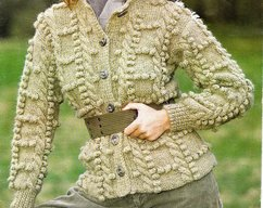 Instant PDF Download Vintage Row by Row Knitting Pattern to make a Ladies  Bulky Richly Textured Long Sleeve Cardigan Jacket Aran Style 32-42 79412e40d