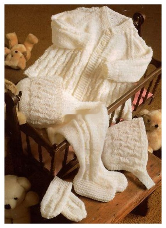 Instant PDF Download Vintage Row by Row Knitting Pattern  Baby Set Aran Style