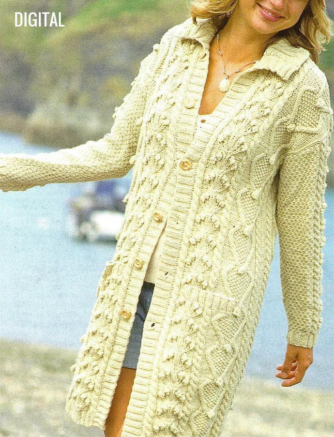 Instant Digital Download Row by Row Knitting Pattern Ladies Women's Long Aran
